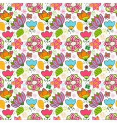 Colorful floral seamless pattern with leaves and vector image