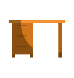 Colorful graphic of wooden office desk with vector