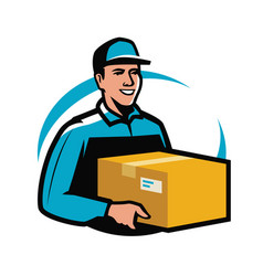 Delivery service courier holds parcel young man vector