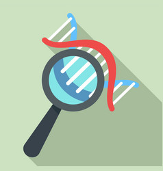 dna under magnify glass icon flat style vector image
