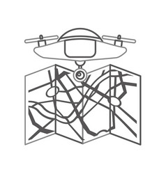 Drone flying technology with paper map vector