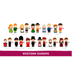 Europeans in national clothes western europe vector