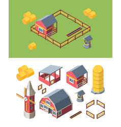 Farm buildings isometric set warehouse storing vector