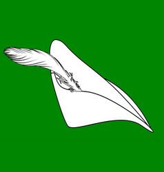 featherd cap of robin hood vector image