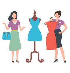 Female buying dress shopper woman market vector
