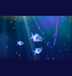fishing and wild predators blue background small vector image