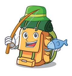 fishing backpack mascot cartoon style vector image