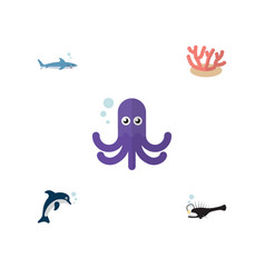 flat icon sea set of algae fish playful fish and vector image