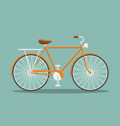 Flat orange bicycle vector