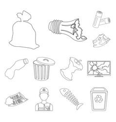 garbage and waste outline icons in set collection vector image