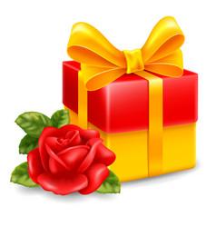 gift box rose leaf vector image
