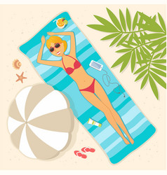 girl lying on the beach - cartoon people character vector image