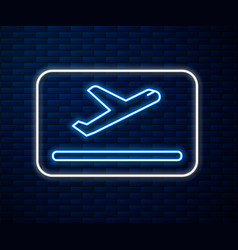 Glowing neon line plane takeoff icon isolated on vector