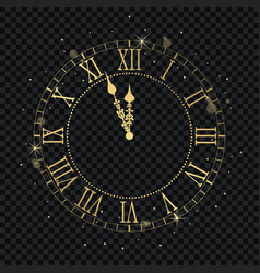 gold vintage clock with roman numeral and vector image