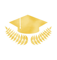 Golden graduation cap with laurel wreath vector