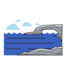 Greek or cyprus mediaterranean sea cliff rock vector