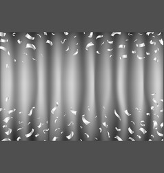 grey curtain of silver confetti particles on a vector image
