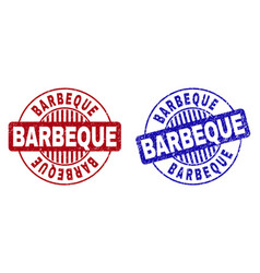 grunge barbecue scratched round stamp seals vector image