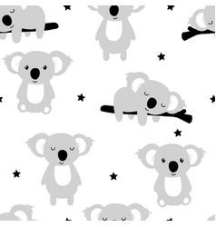 hand drawing cute koalas seamless pattern vector image