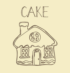hand drawn gingerbread house line icon outline vector image