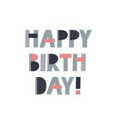 Happy birthday lettering postcard vector
