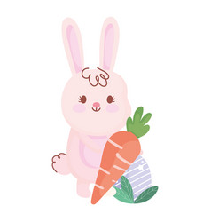 Happy easter rabbit with carrot and egg cartoon vector