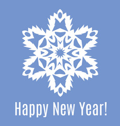 happy new year paper snowflake on blue background vector image