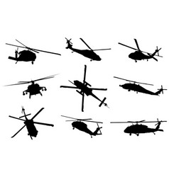 helicopter detailed silhouettes vector image