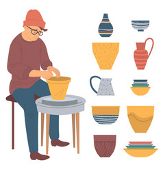 Hipster man making pots from clay pottery hobby vector