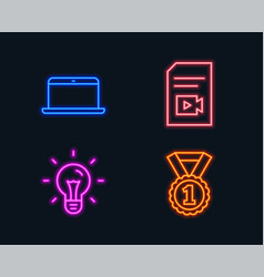 idea laptop and video file icons best rank sign vector image