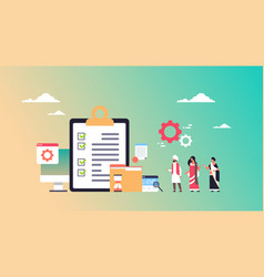 indian business people checklist survey project vector image
