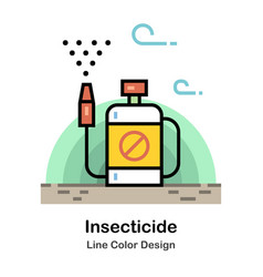 Insecticide line color icon vector