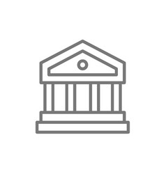 Justice court or bank building line icon vector
