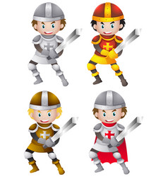 knights in different metal armours vector image