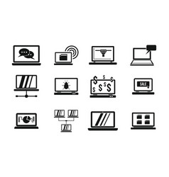 laptop icon set simple style vector image