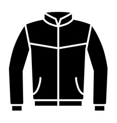 Leather bomber jacket or coat flat icon vector