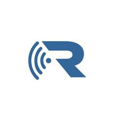 letter r wifi logo vector image
