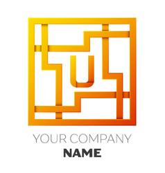 Letter u symbol in the colorful square maze vector