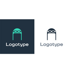 Logotype aviator hat with goggles icon isolated on vector