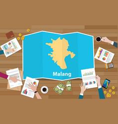 Malang indonesia java city region economy growth vector