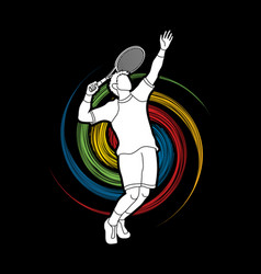 man tennis player sport man pose serve vector image