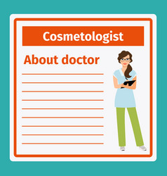 medical notes about cosmetologist vector image