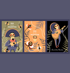 mexican day dead set cards vector image