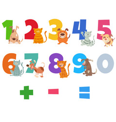 Numbers set with happy cats and dogs vector