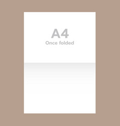 once folded a4 paper mockup realistic style vector image