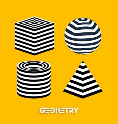 optical illusion geometric figures on yellow vector image