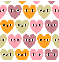 pastel hearts with eyes pattern vector image