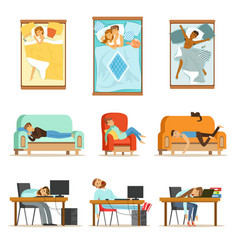 People sleeping in different positions at home and vector