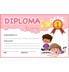 Reading diploma certificate template vector