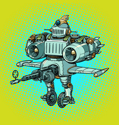 Ridiculous funny battle military robot in retro vector